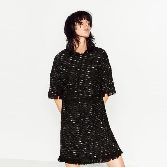 91cde29f Zara Dresses   Nwt Black Tweed Fringed Mini Dress   Poshmark
